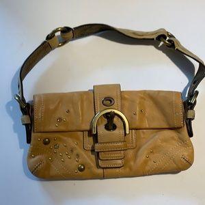 Coach studded vachetta leather shoulder bag